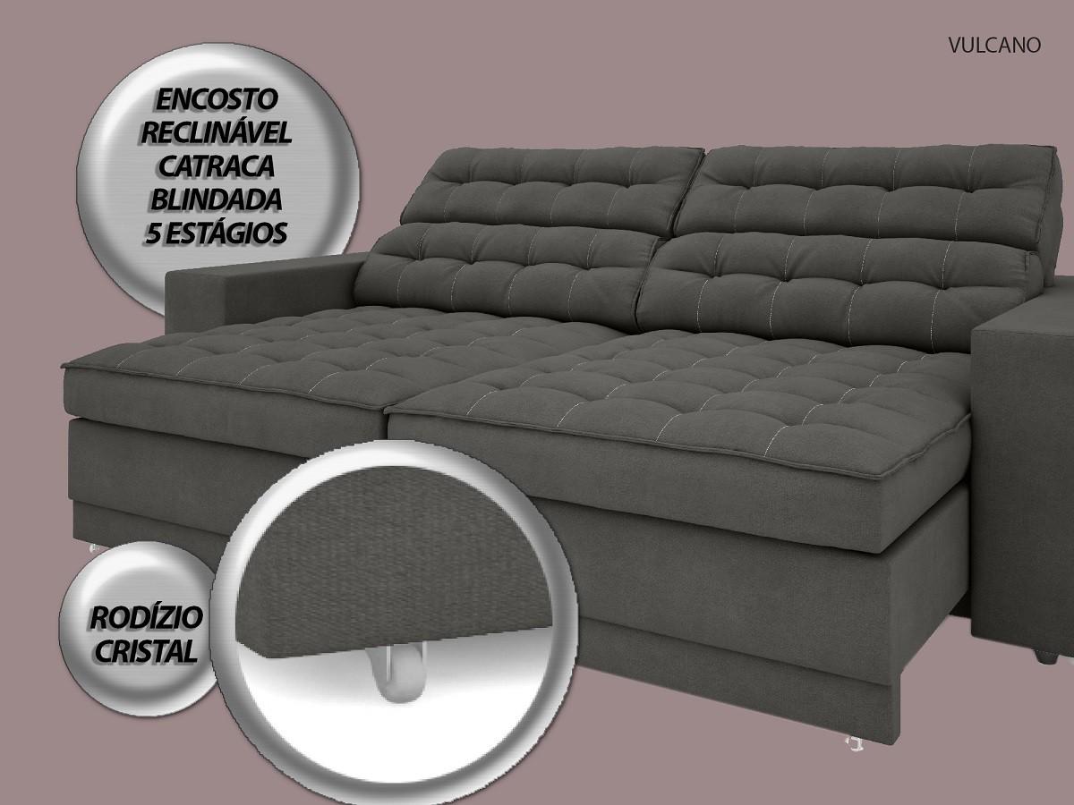Sofá Vulcano 2,50m Assento Retrátil e Reclinável Velosuede Cinza - NETSOFAS