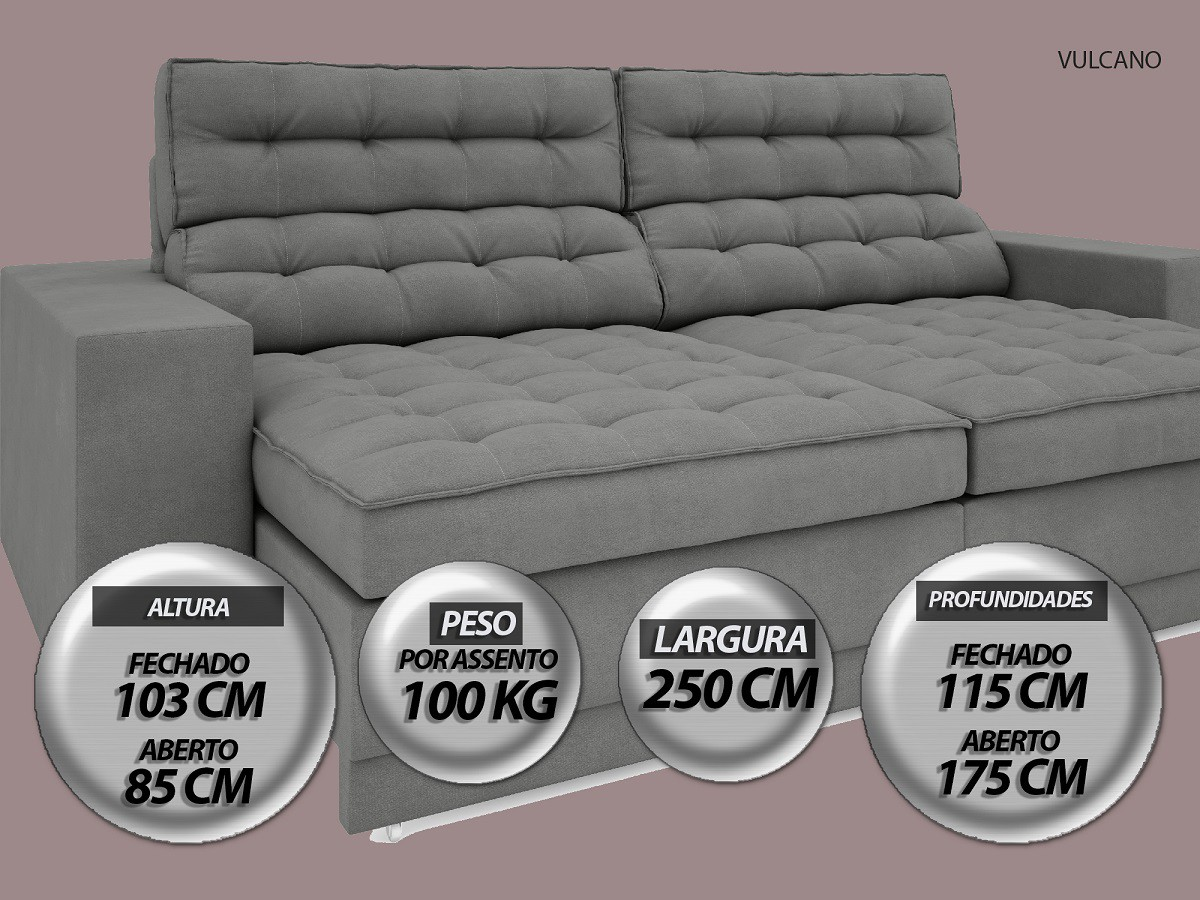 Sofá Vulcano 2,50m Assento Retrátil e Reclinável Velosuede Grafite - NETSOFAS  - NETSOFÁS