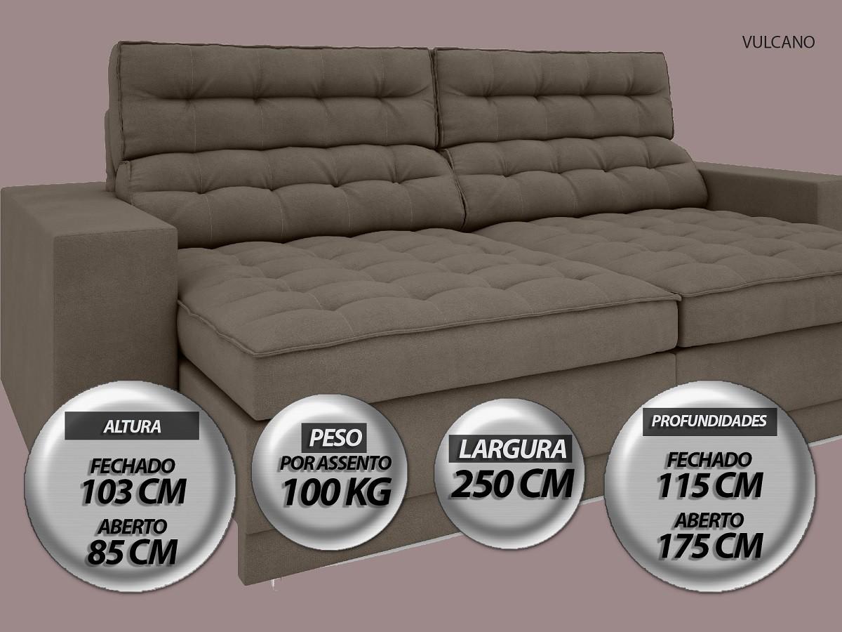 Sofá Vulcano 2,50m Assento Retrátil e Reclinável Velosuede Marrom - NETSOFAS