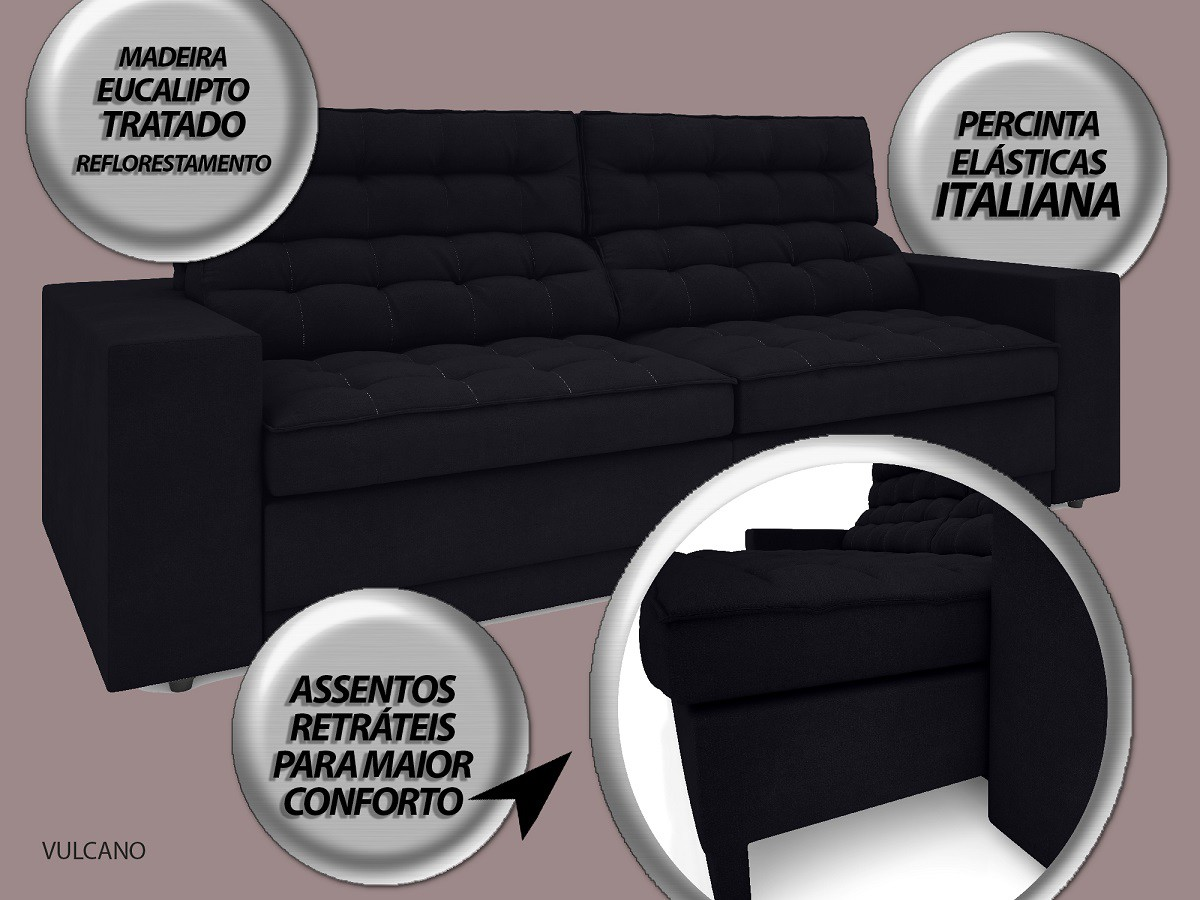 Sofá Vulcano 2,50m Assento Retrátil e Reclinável Velosuede Preto - NETSOFAS  - NETSOFÁS