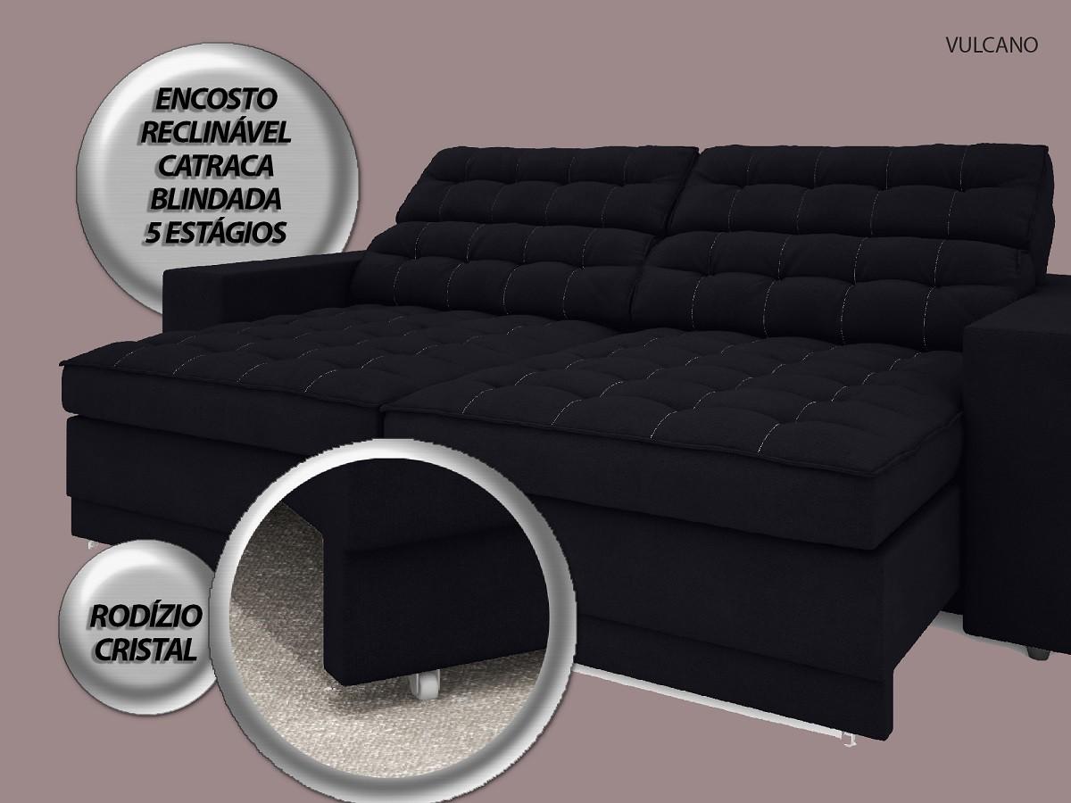 Sofá Vulcano 2,50m Assento Retrátil e Reclinável Velosuede Preto - NETSOFAS