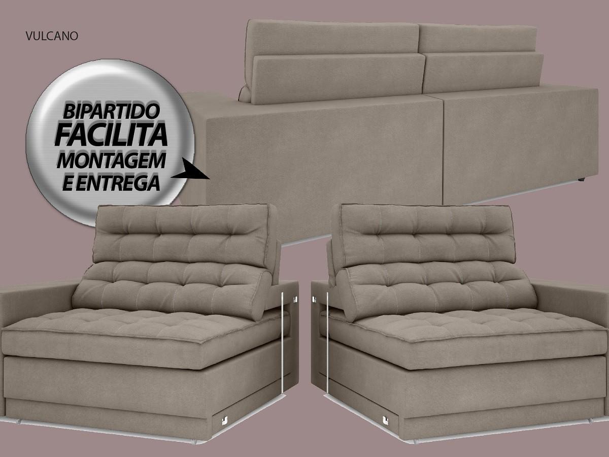 Sofá Vulcano 2,70m Assento Retrátil e Reclinável Velosuede Bege - NETSOFAS