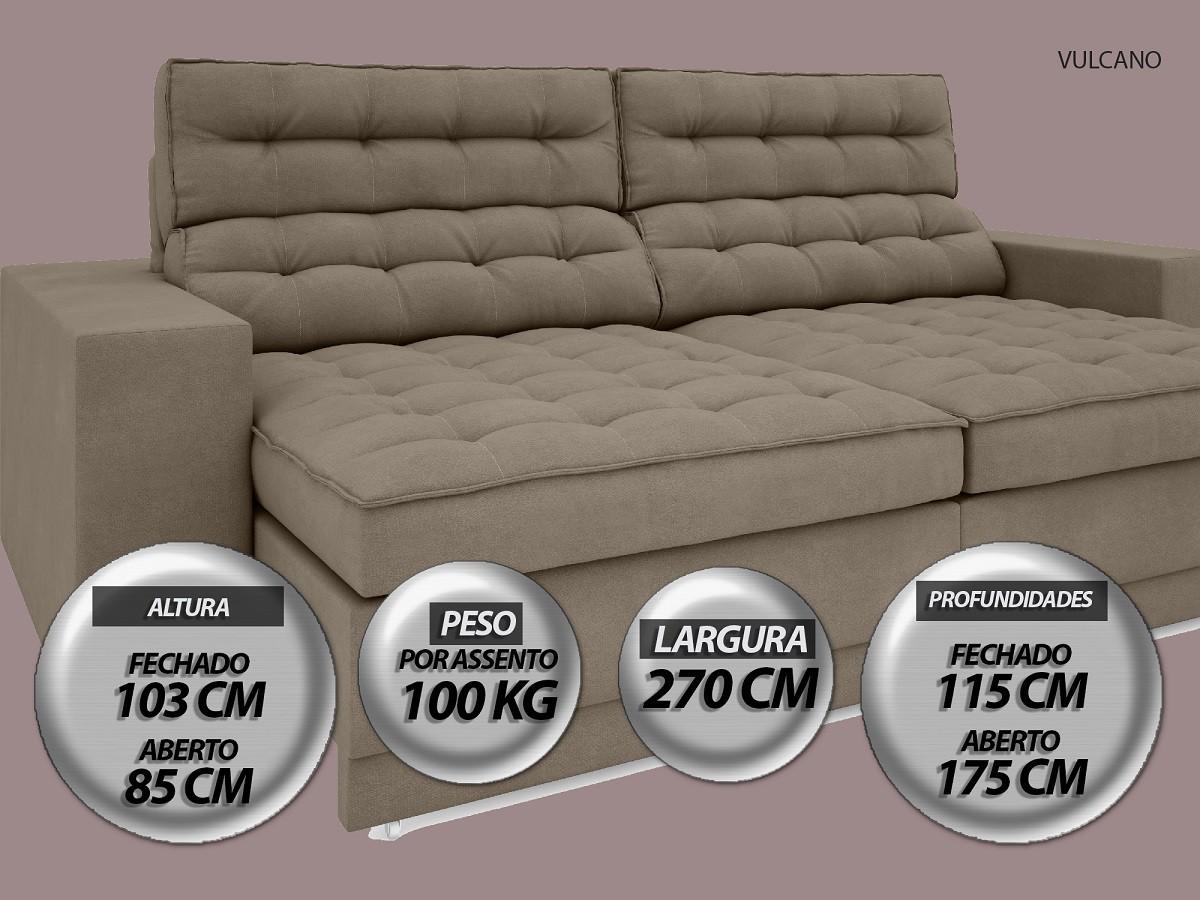 Sofá Vulcano 2,70m Assento Retrátil e Reclinável Velosuede Capuccino - NETSOFAS