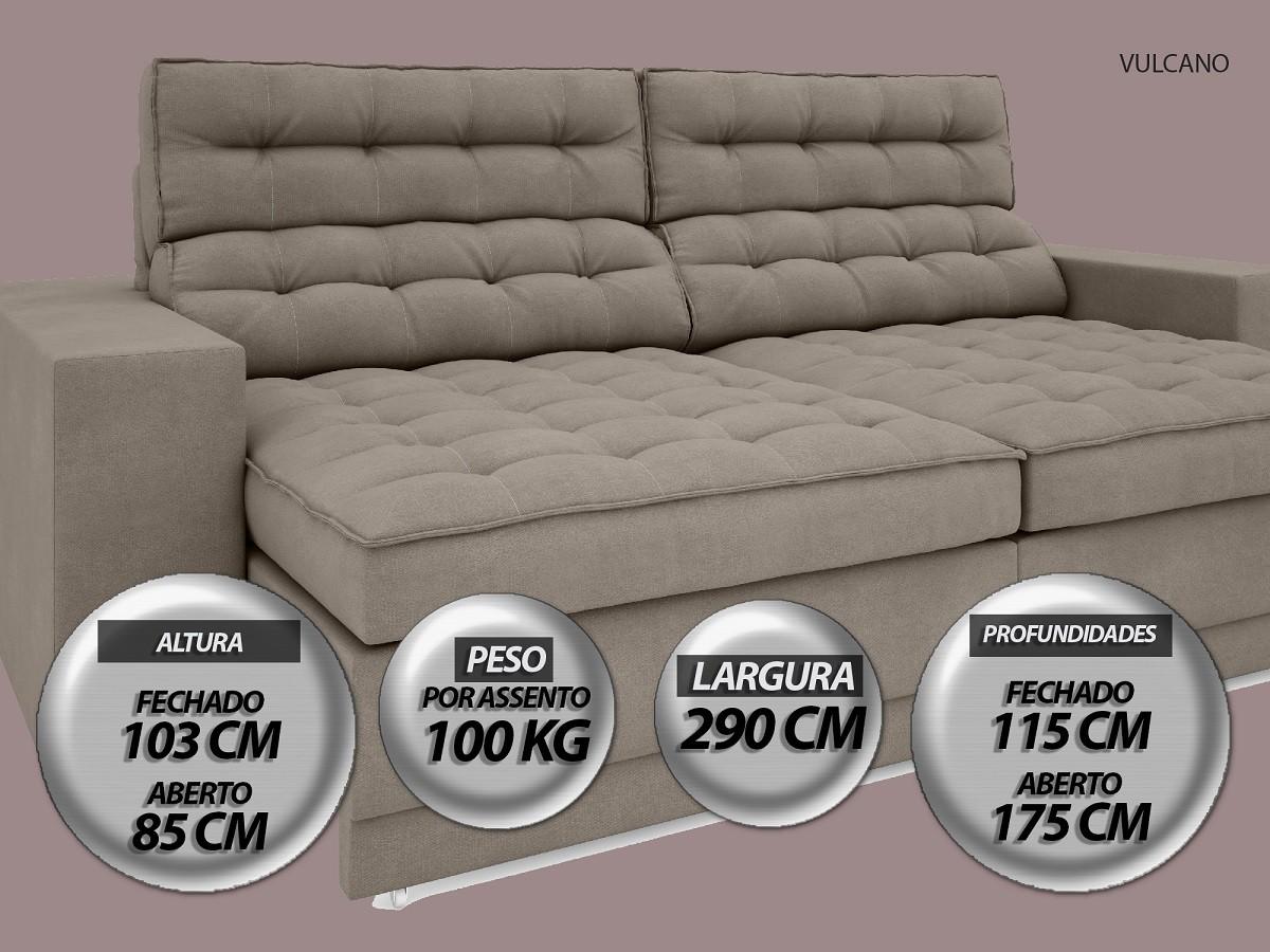 Sofá Vulcano 2,90m Assento Retrátil e Reclinável Velosuede Bege - NETSOFAS