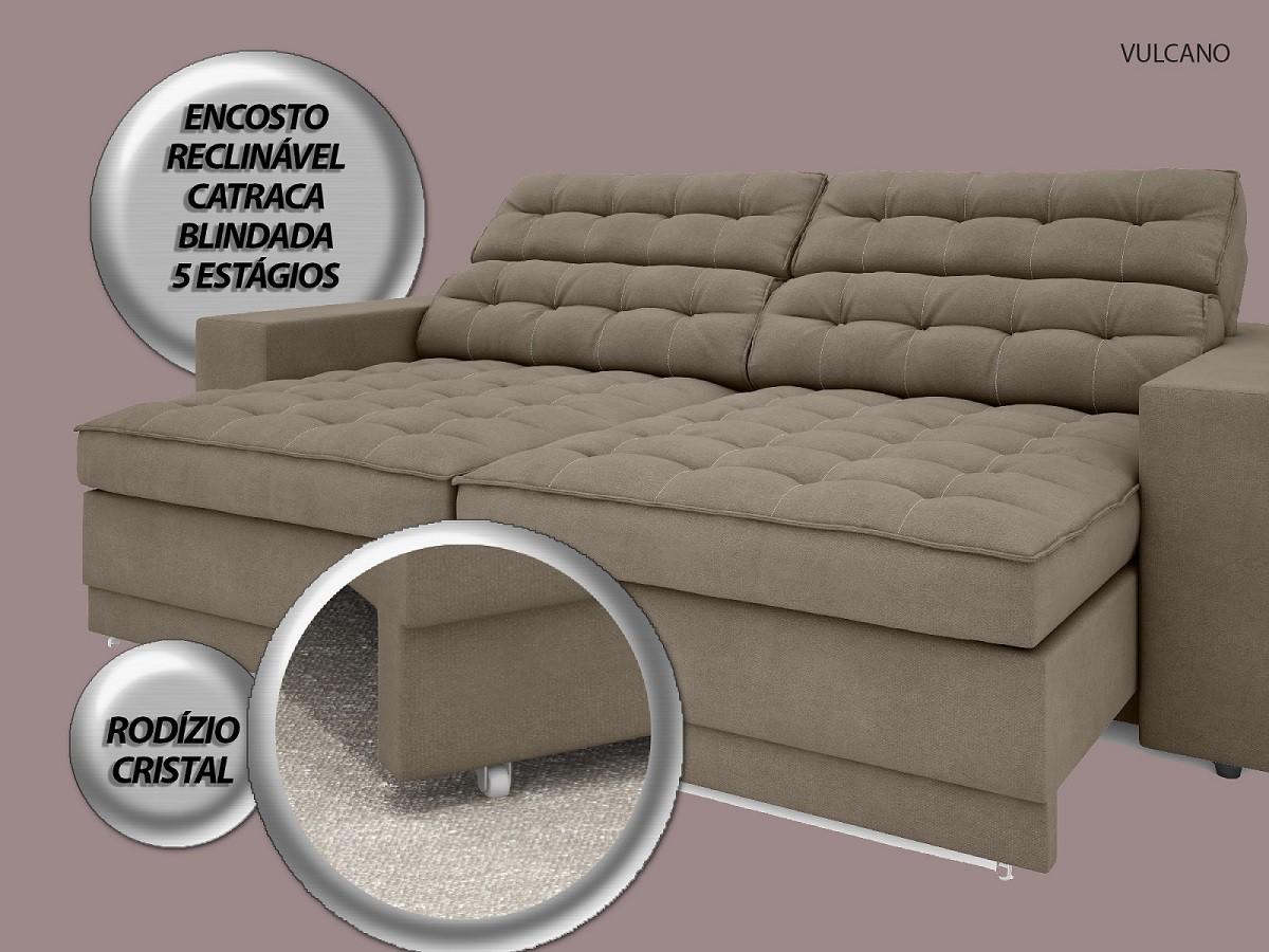 Sofá Vulcano 2,90m Assento Retrátil e Reclinável Velosuede Capuccino - NETSOFAS