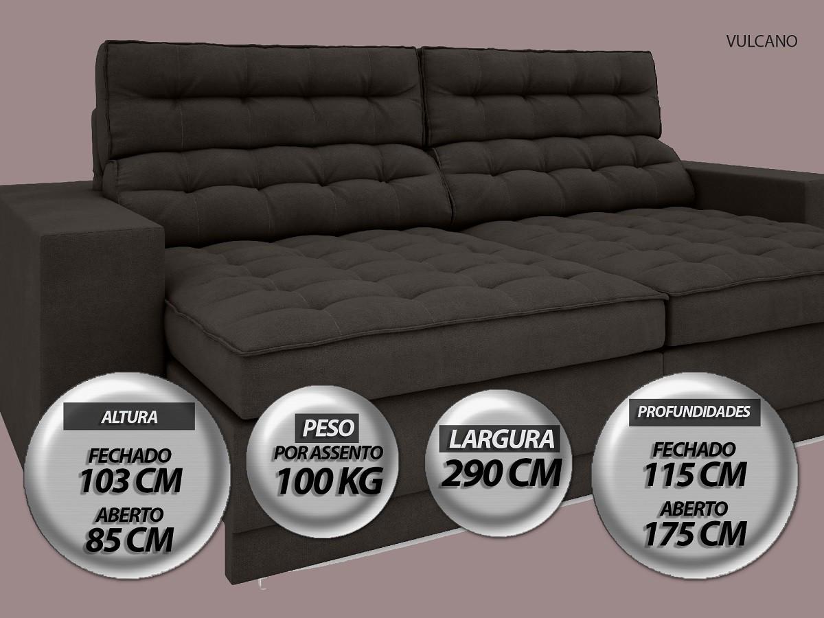 Sofá Vulcano 2,90m Assento Retrátil e Reclinável Velosuede Chocolate - NETSOFAS