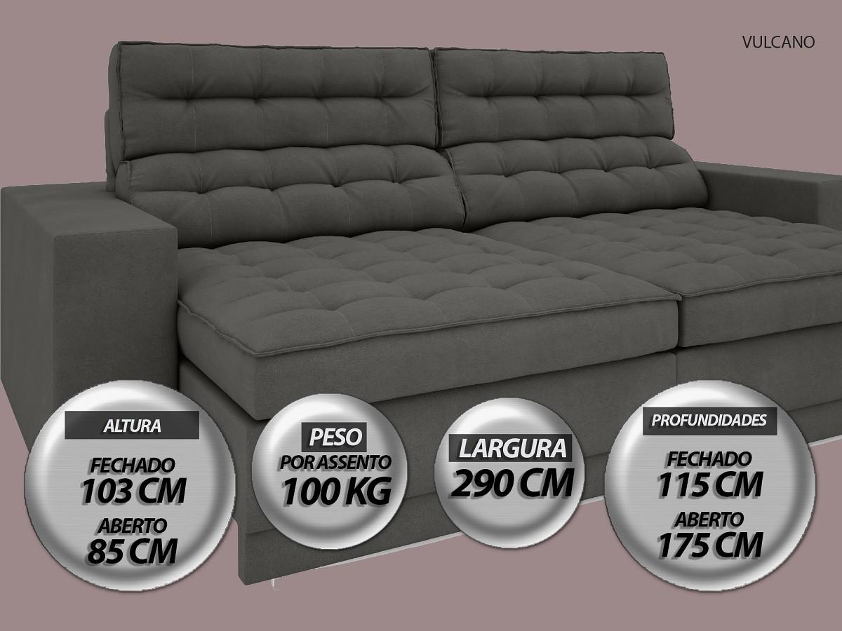 Sofá Vulcano 2,90m Assento Retrátil e Reclinável Velosuede Cinza - NETSOFAS  - NETSOFÁS