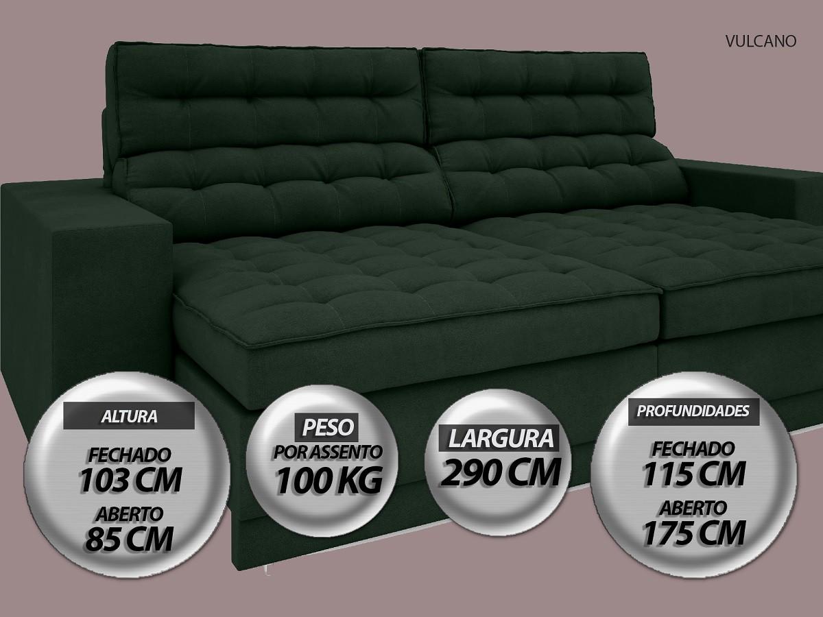 Sofá Vulcano 2,90m Assento Retrátil e Reclinável Velosuede Verde - NETSOFAS