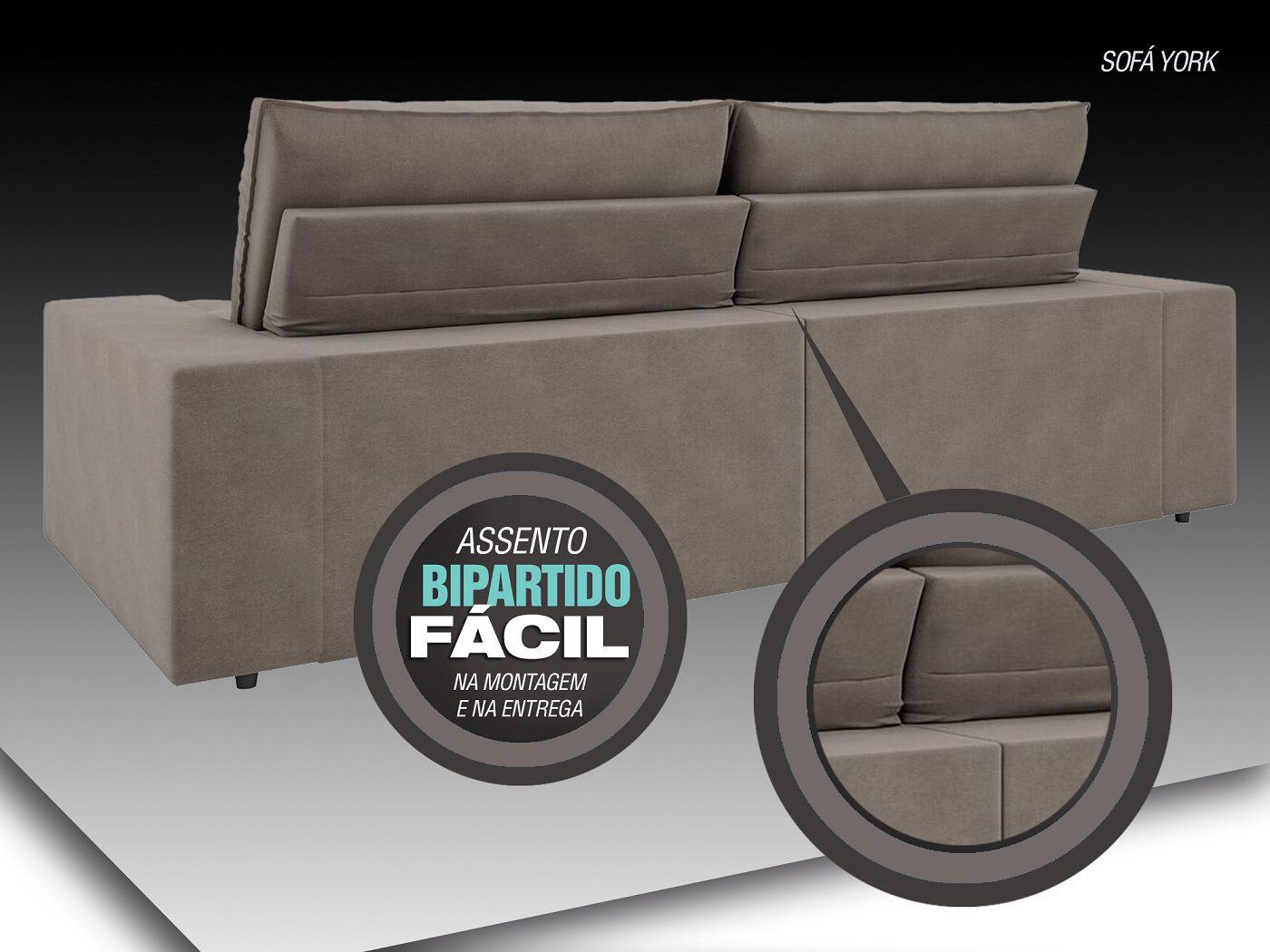 Sofá York 2,10m Assento Retrátil e Reclinável Velosuede Cinza - NETSOFAS