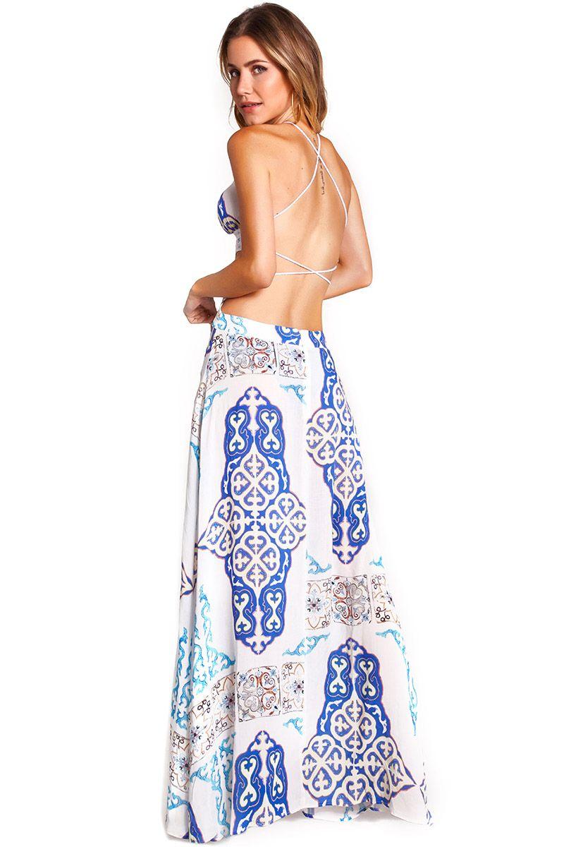 Vestido Majorelle Estampa Azulejo Azul