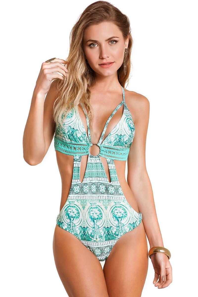 Body Majorelle Estampa Azulejo Verde
