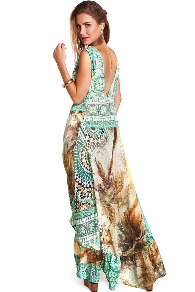 Vestido Kate Estampa Azulejo Com Estampa Coqueiro