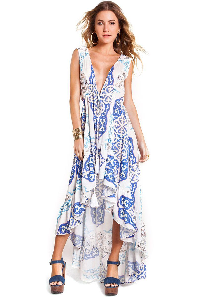 Vestido Kate Estampa Azulejo Azul