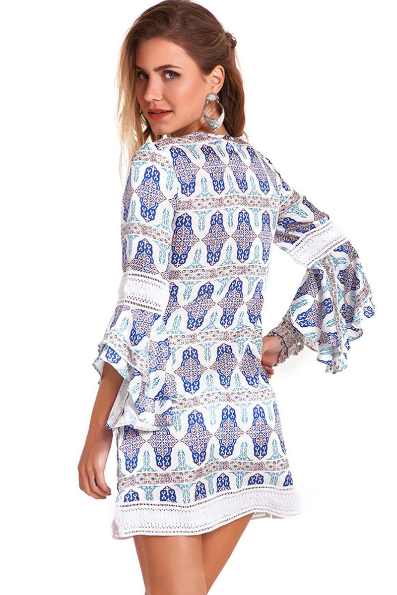 Vestido Isabel Estampa Azulejo Azul