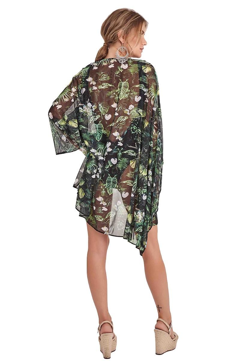 Kimono Malaga Estampa Folhagem Escura