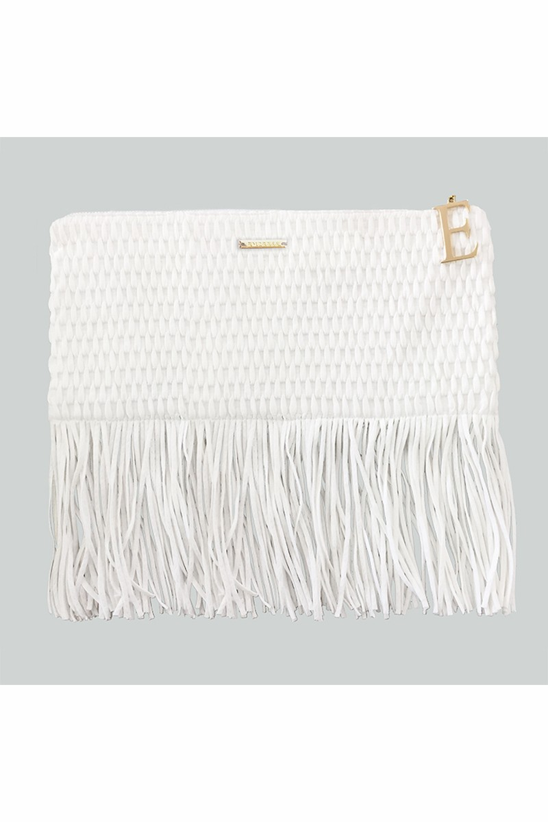 Beach Clutch Fringe Off White