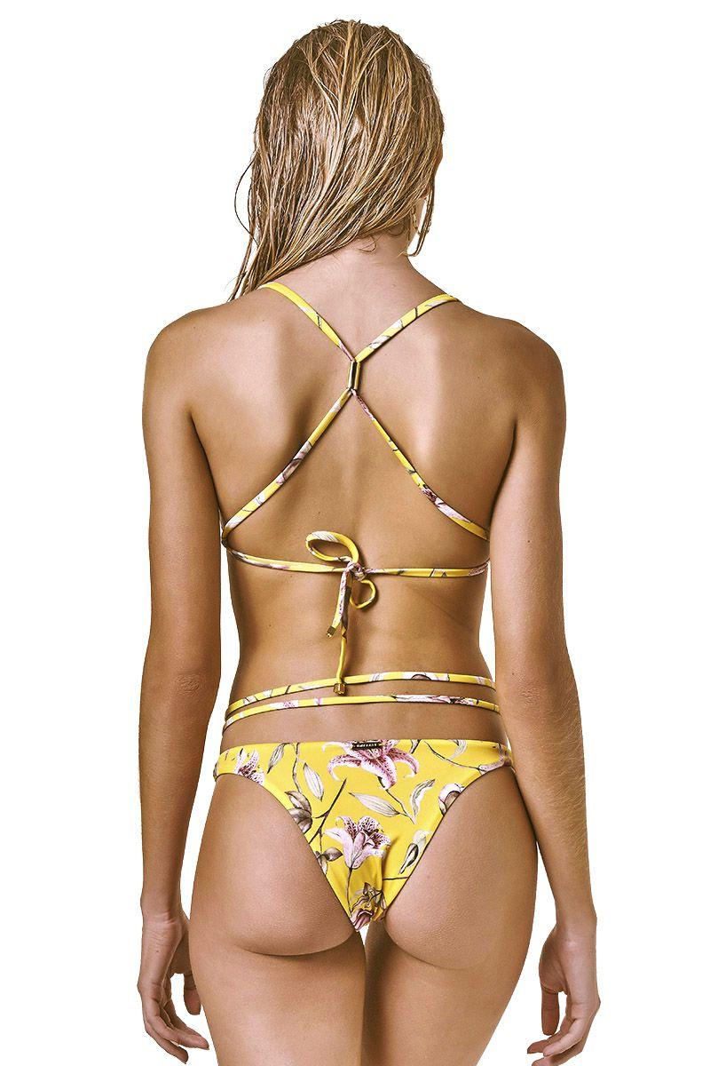 Biquini Cross Estampa Floral Amarelo
