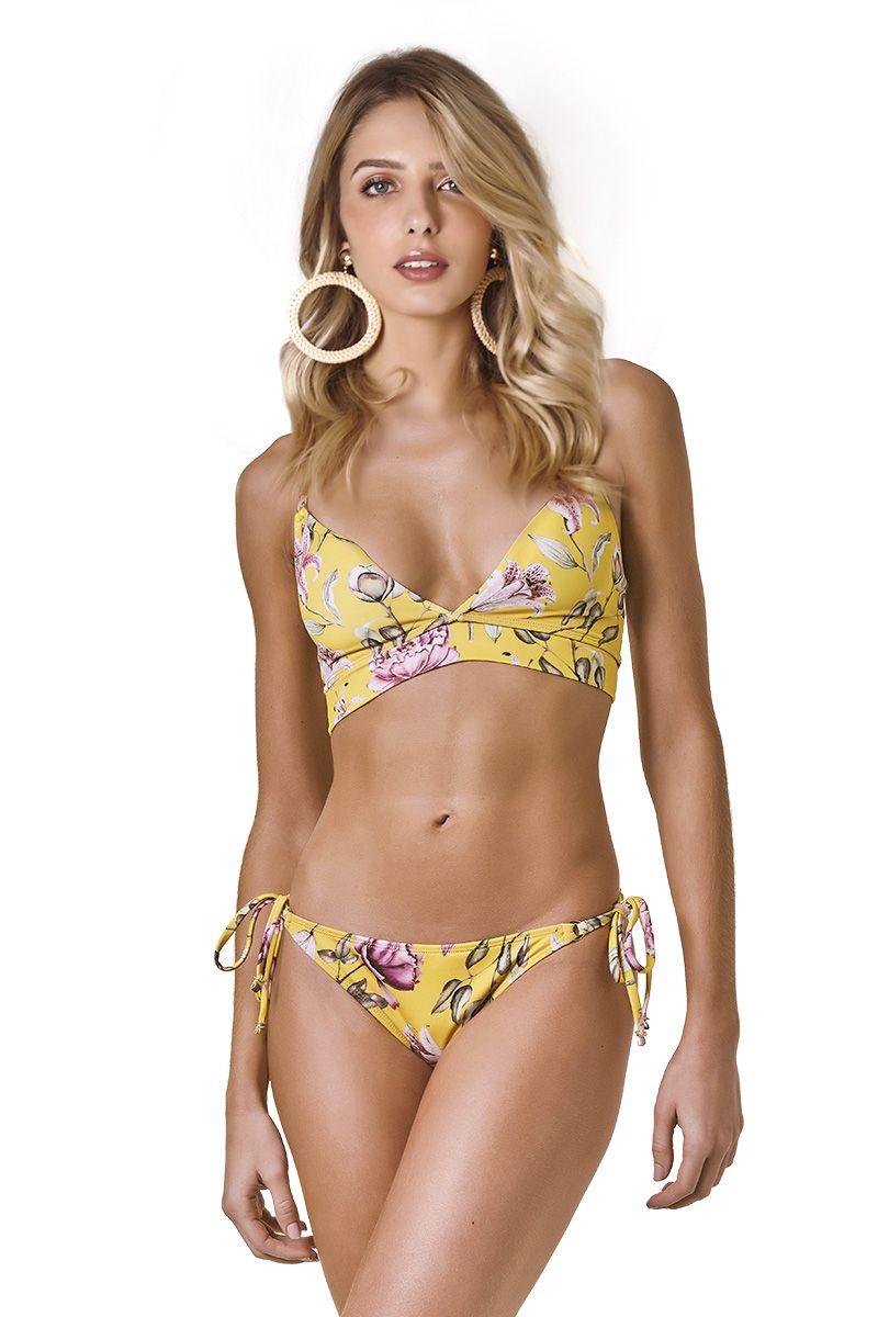 Biquini Florence Estampa Floral Amarelo