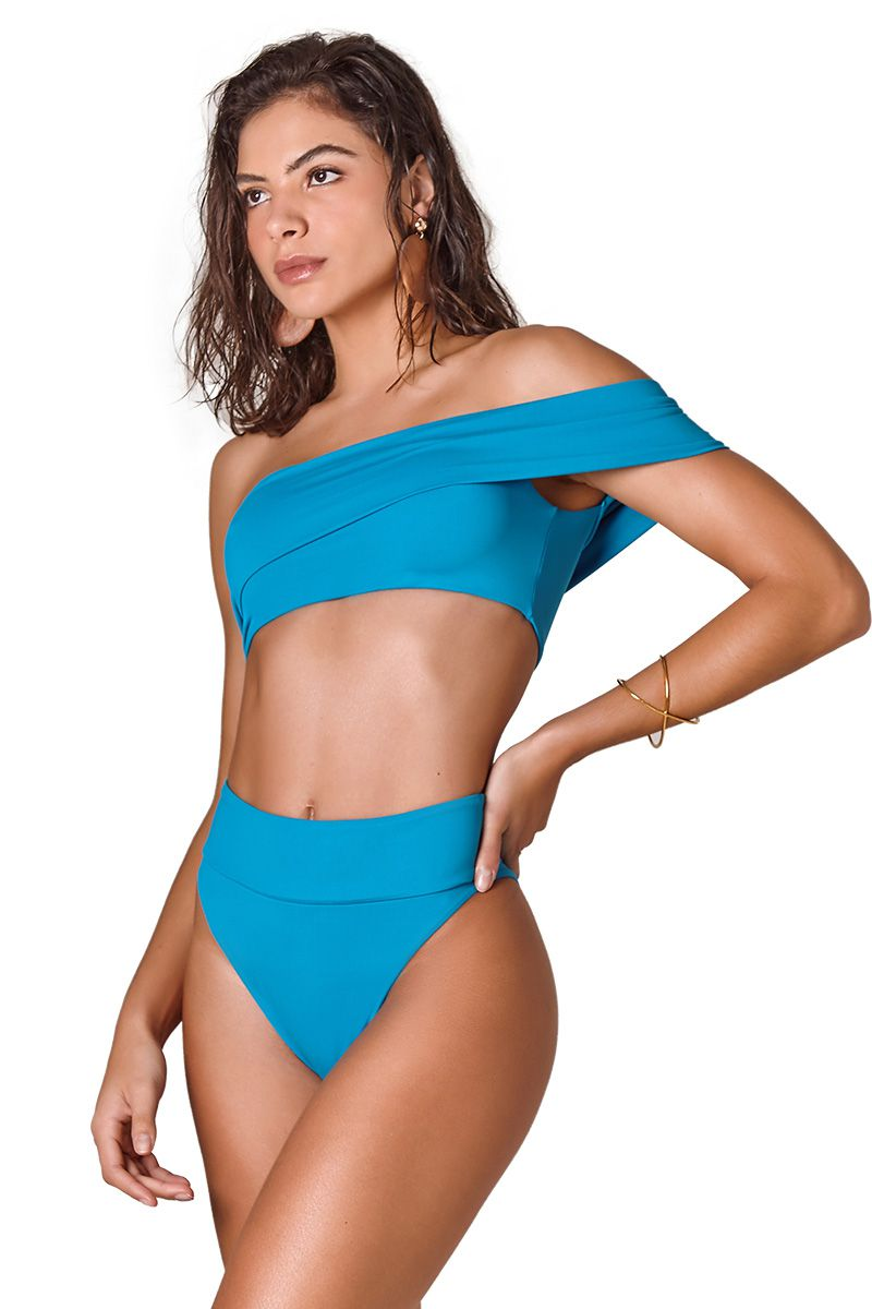 Biquini Off Shoulder Azul Grego