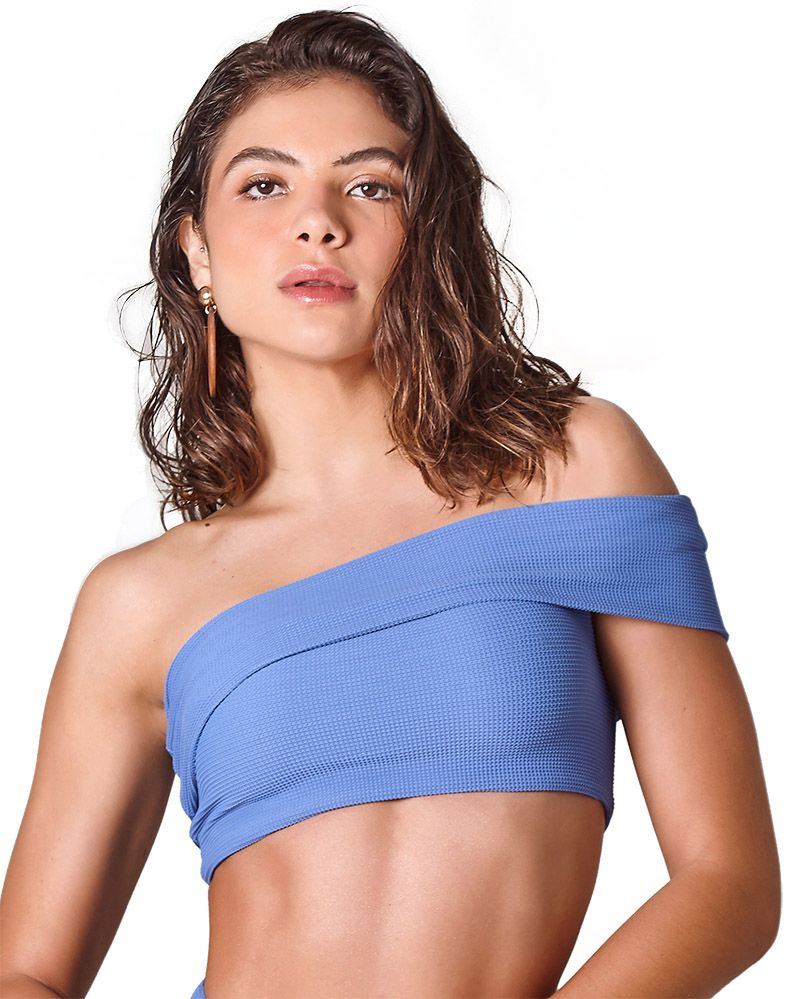 Biquini Off Shoulder Textura Azul