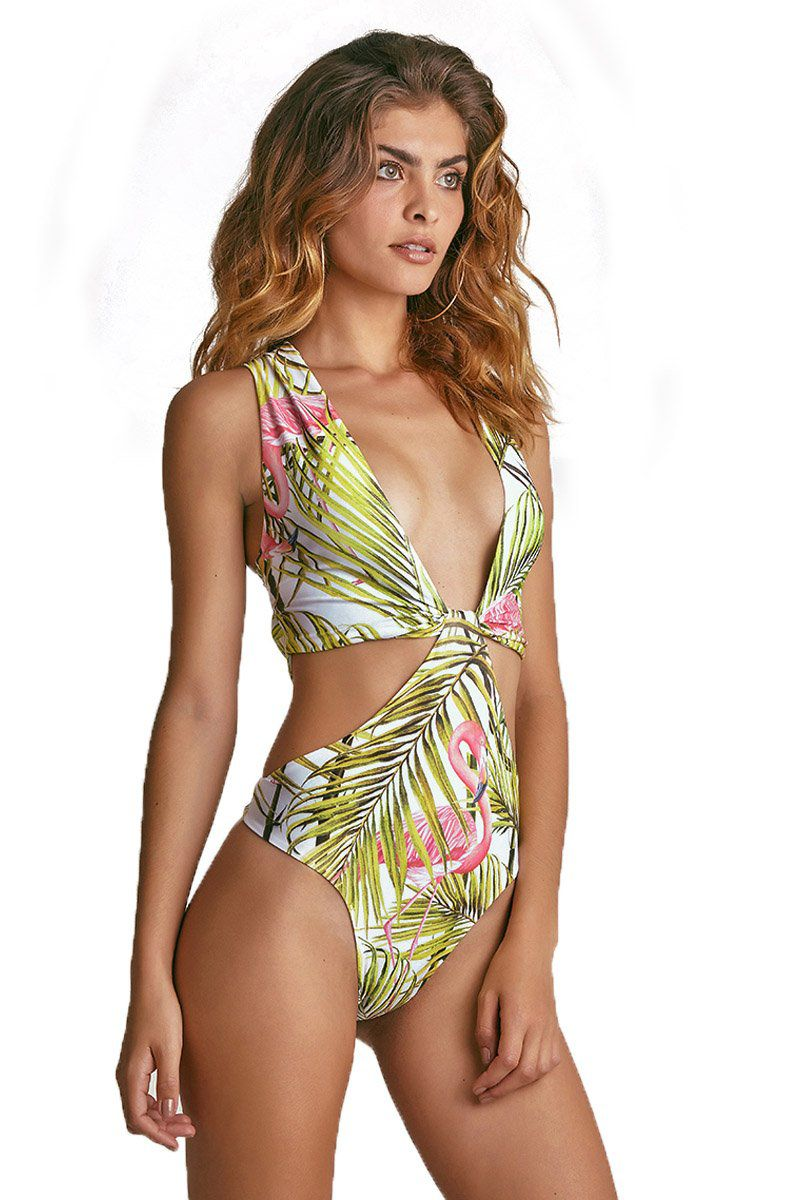 Body Kiawah Estampa Flamingo Branco