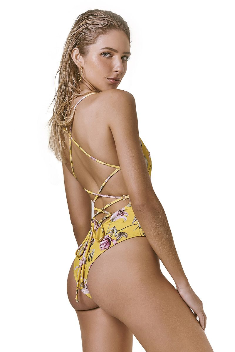 Body String Estampa Floral Amarelo