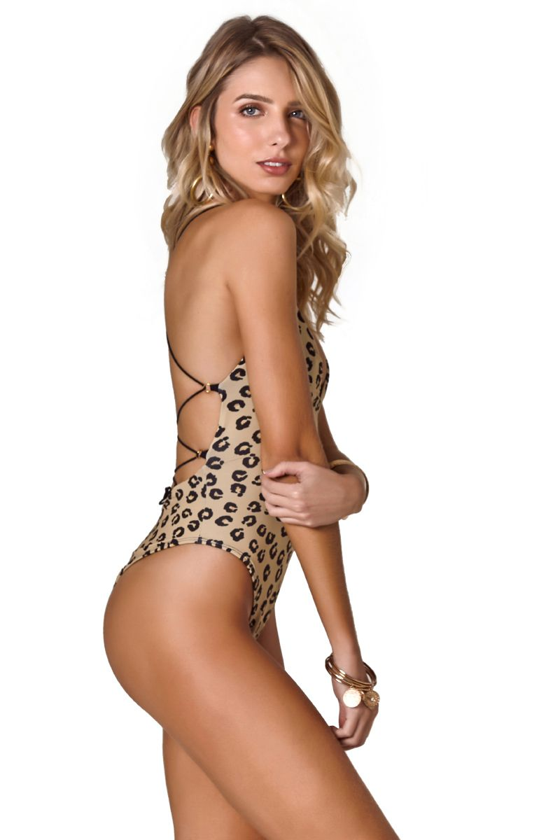 Body String Estampa Onça Khaki