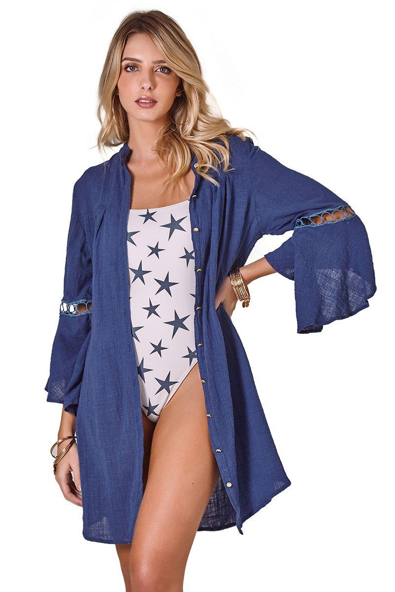 Camisa Safari Babado Azul Marinho