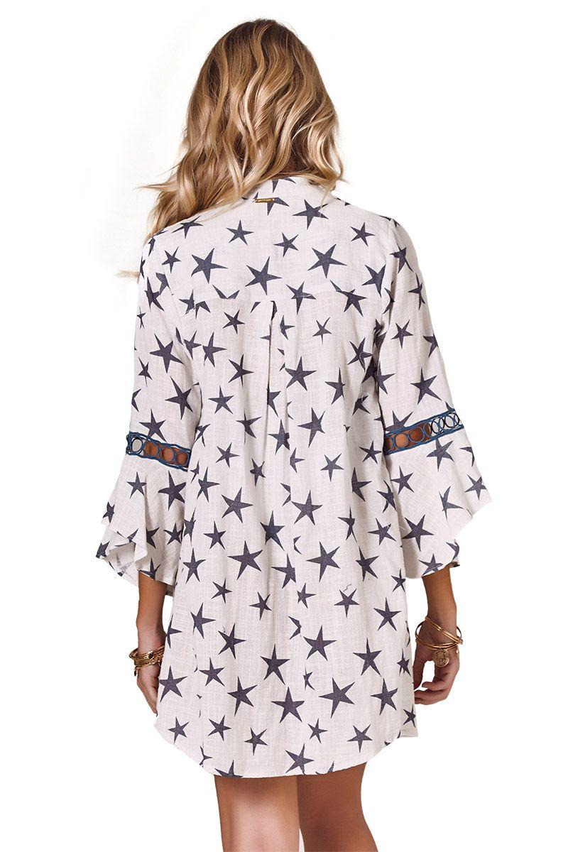Camisa Safari Babado Estampa Star Azul