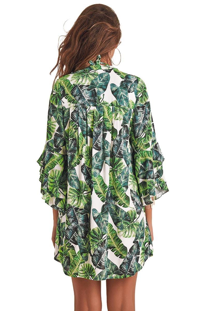 Camisa Safari Estampa Folhagem