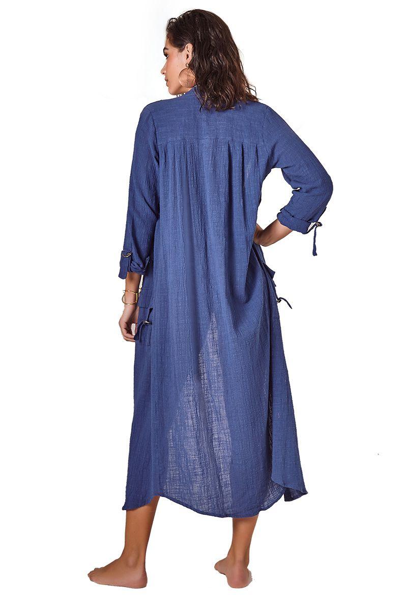 Camisa Safari Long Azul Marinho