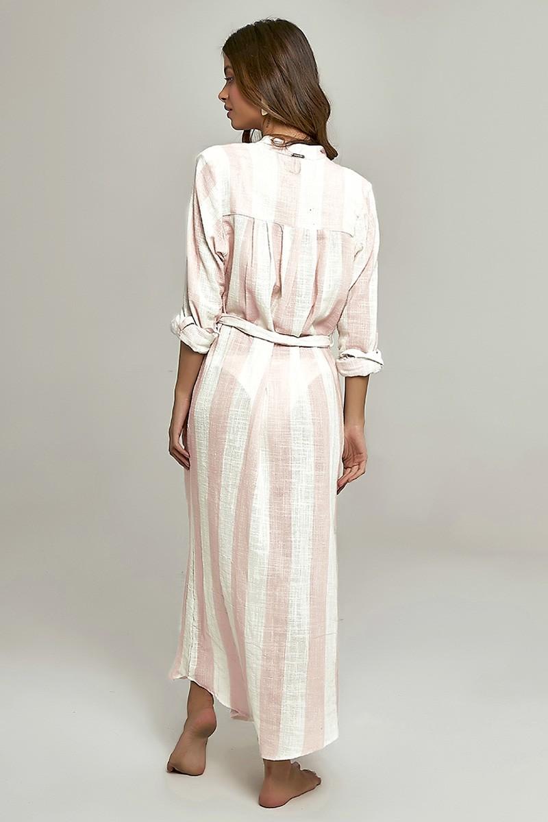 Camisa Safari Long Estampa Listras Pink