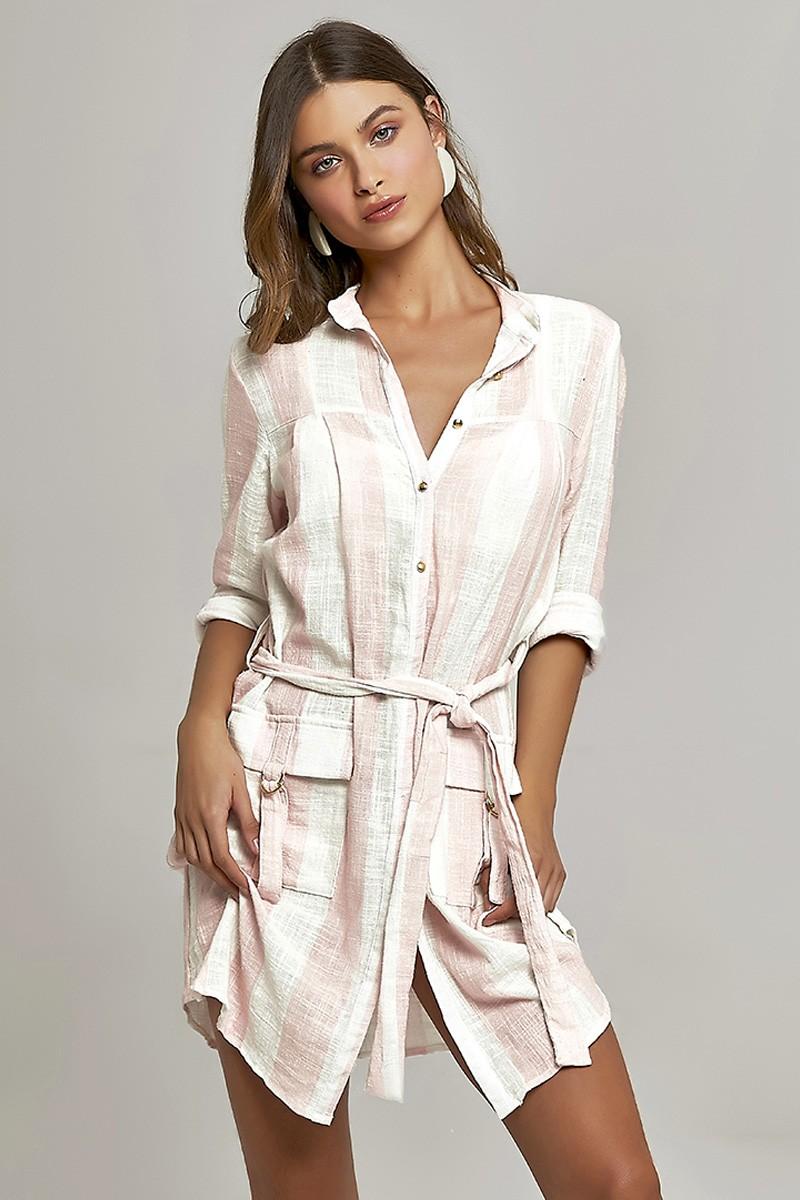 Camisa Safari Short Estampa Listras Pink