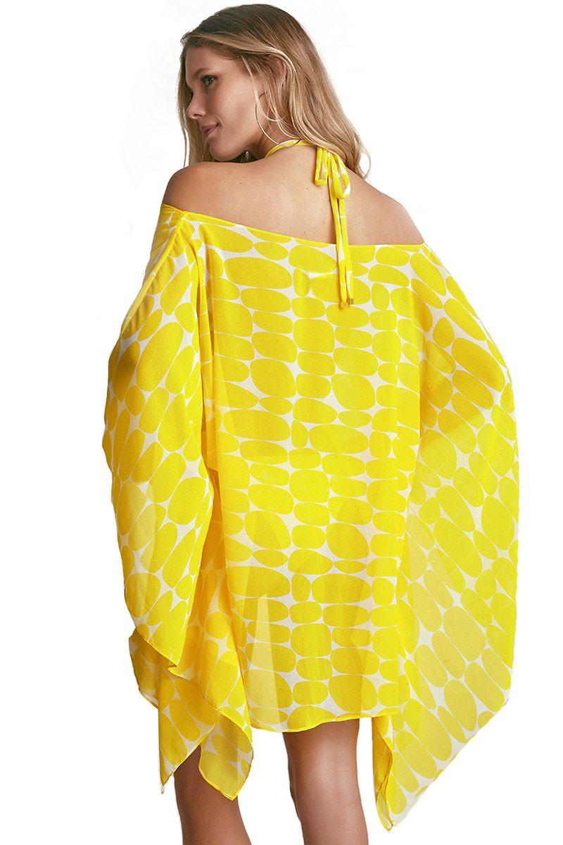 Kaftan Bardot Estampa Leblon Amarelo