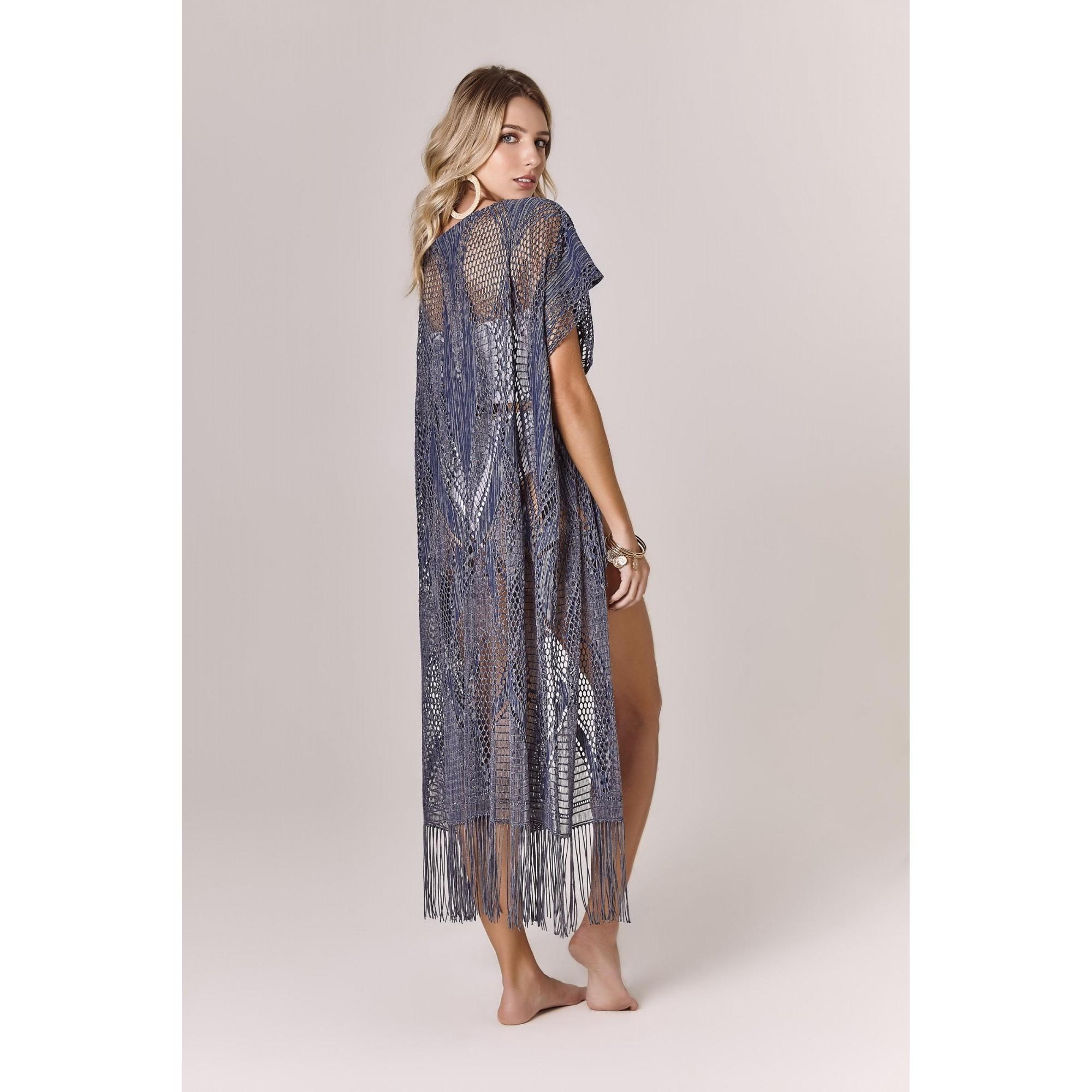 Kimono Fringe Renda Azul Blue Jeans