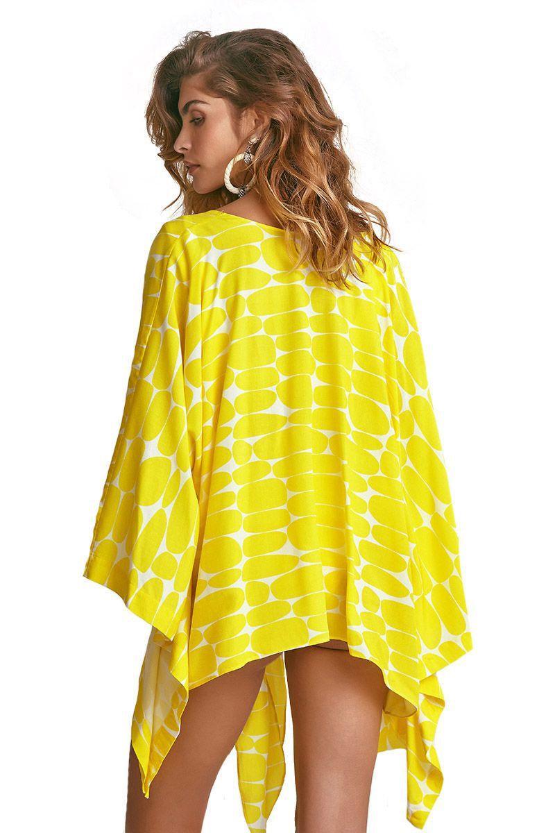 Kimono Ibiza Estampa Leblon Amarelo