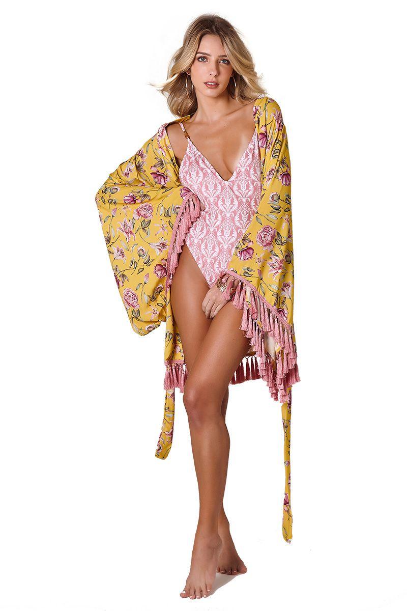 Kimono Lounge Estampa Floral Amarelo