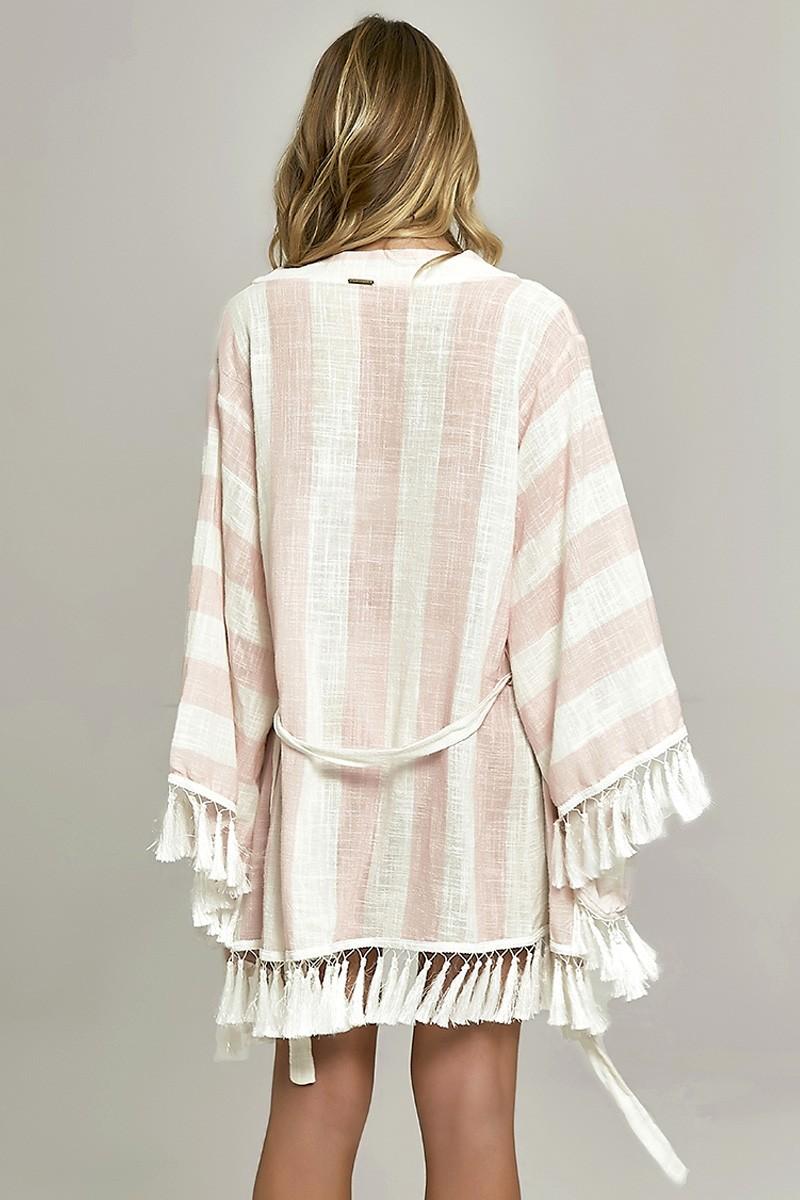 Kimono Lounge Estampa Listras Pink