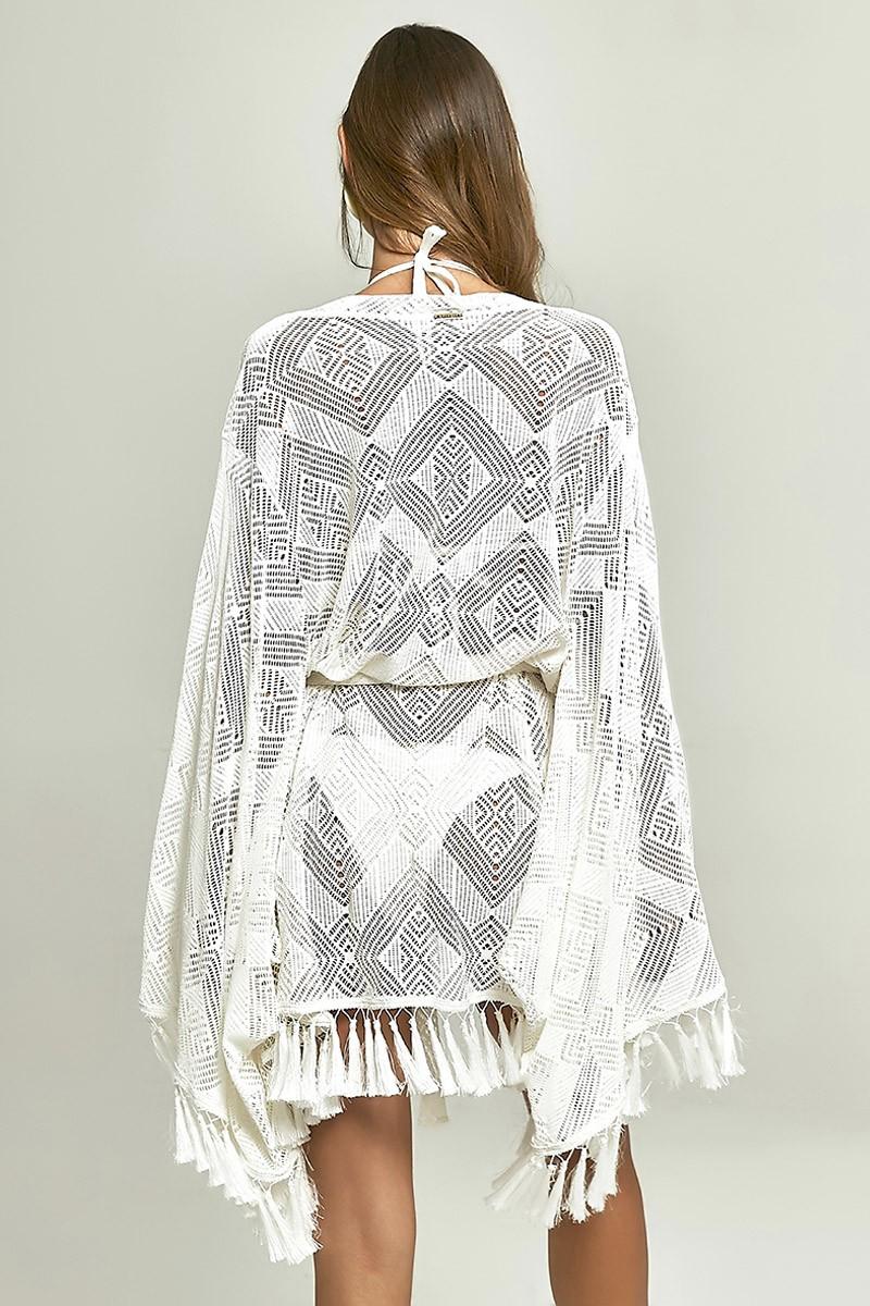 Kimono Lounge Renda Losango Off White
