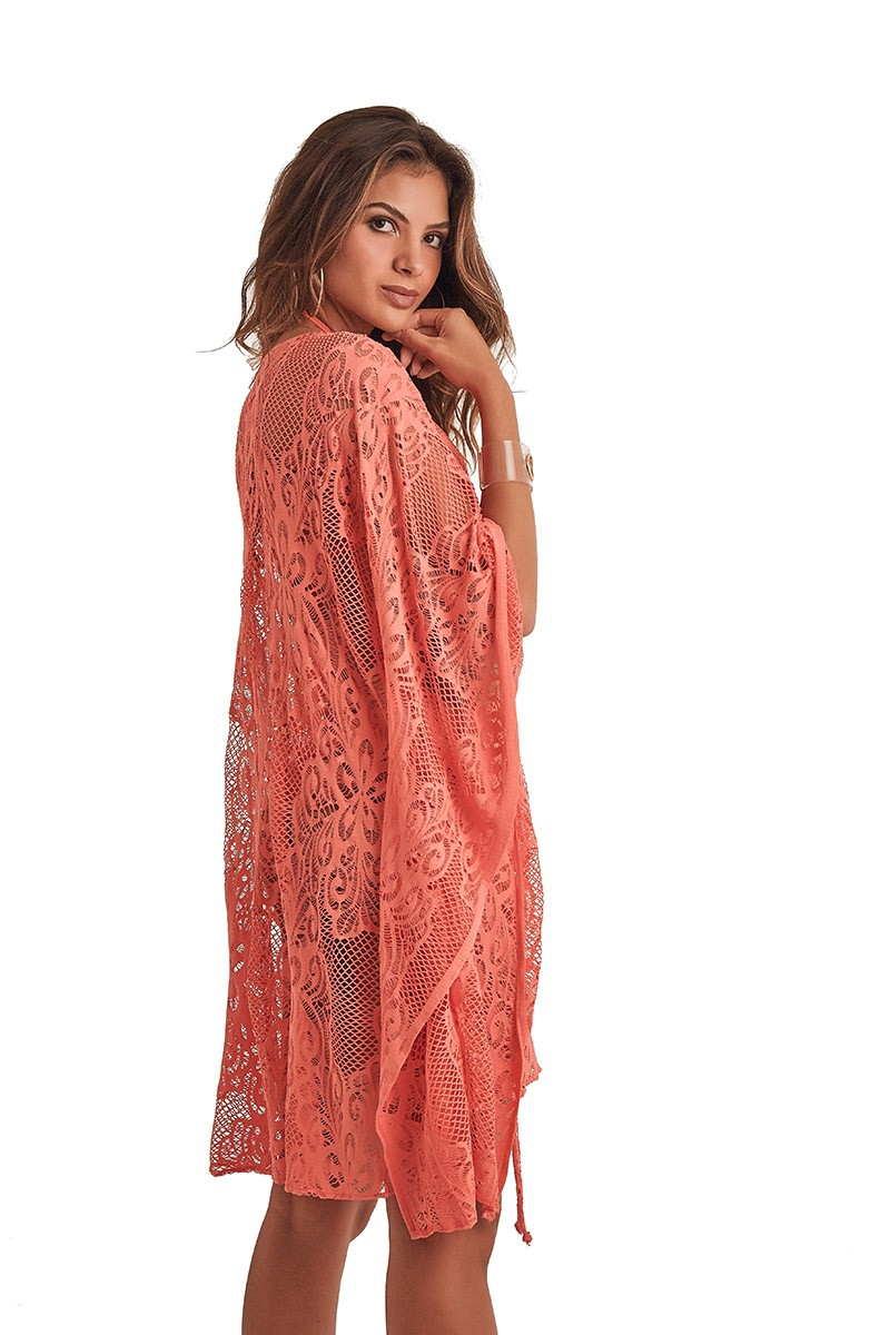 Kimono Malaga Renda Rosa Coral