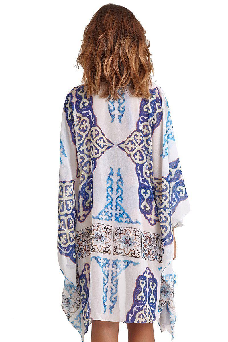 Kimono Malaga Estampa Azulejo Azul