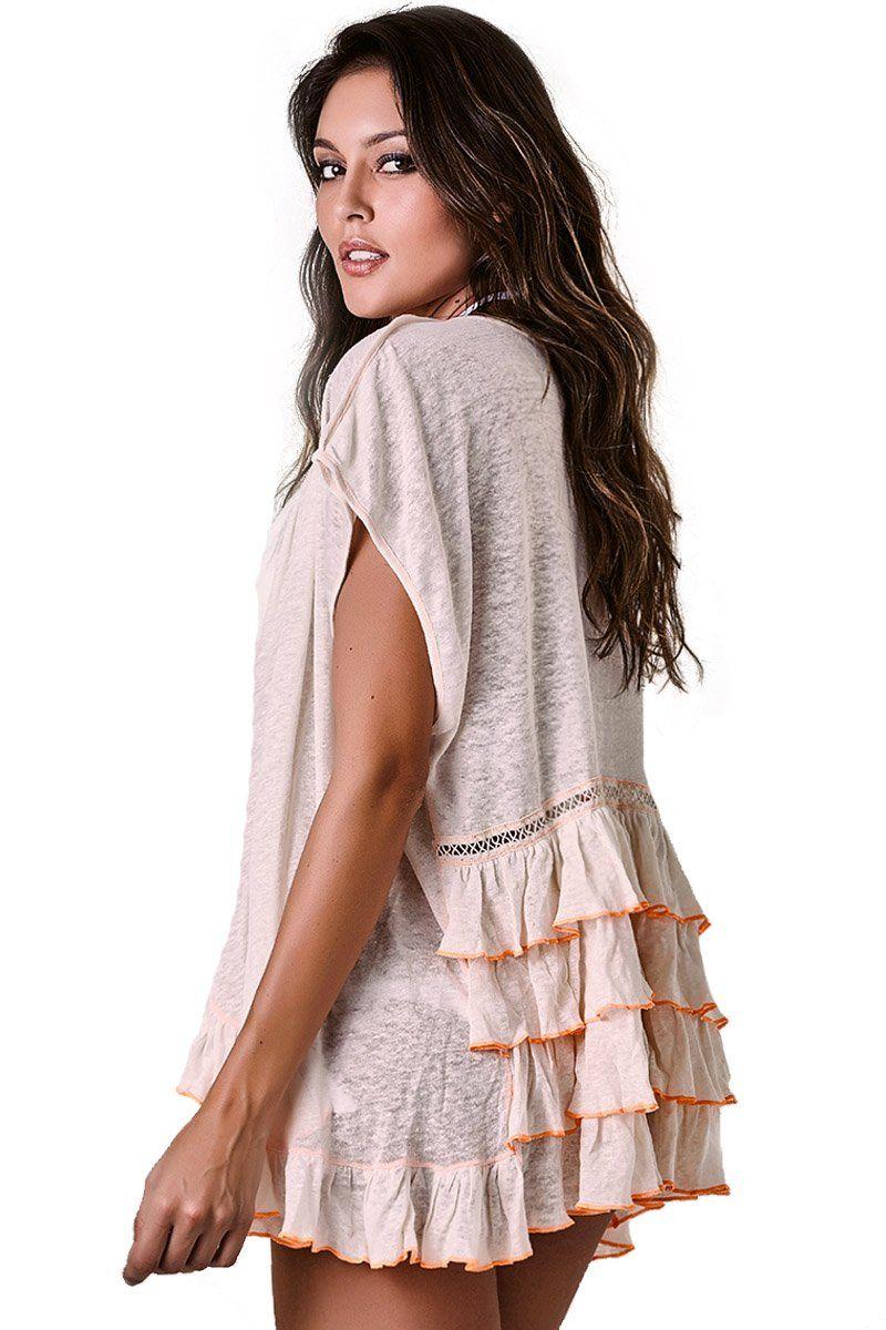 Kimono Rufflebomb Linho Cru