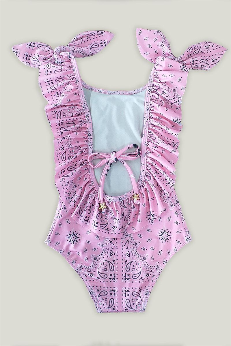 Maiô Itacaré Infantil Estampa Bandana Pink