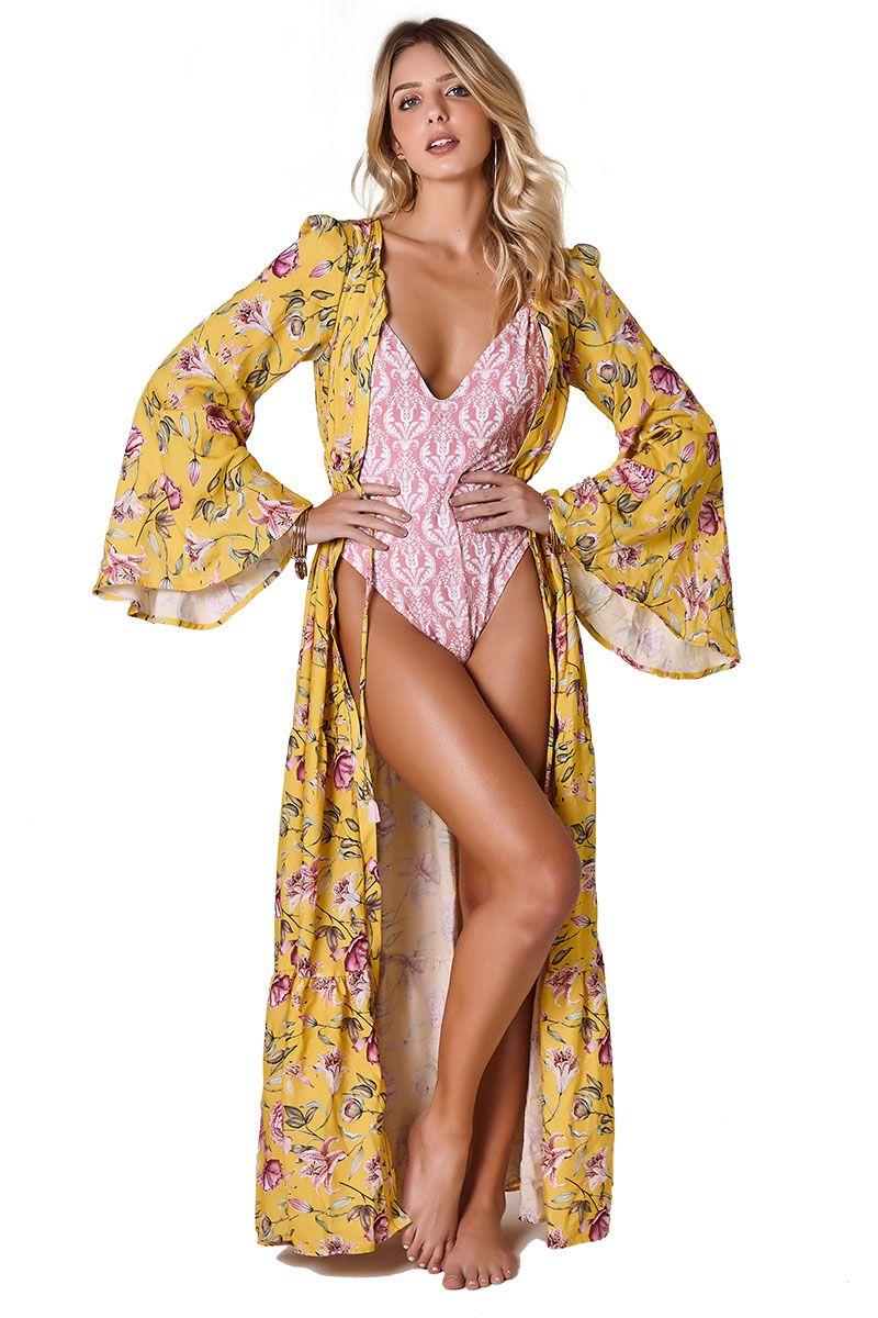 Robe Gisele Estampa floral Amarelo