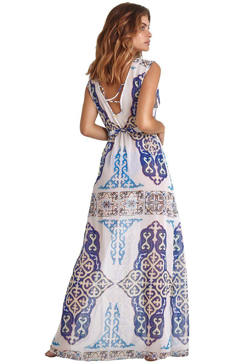 Robe Sophie Estampa Azulejo Azul