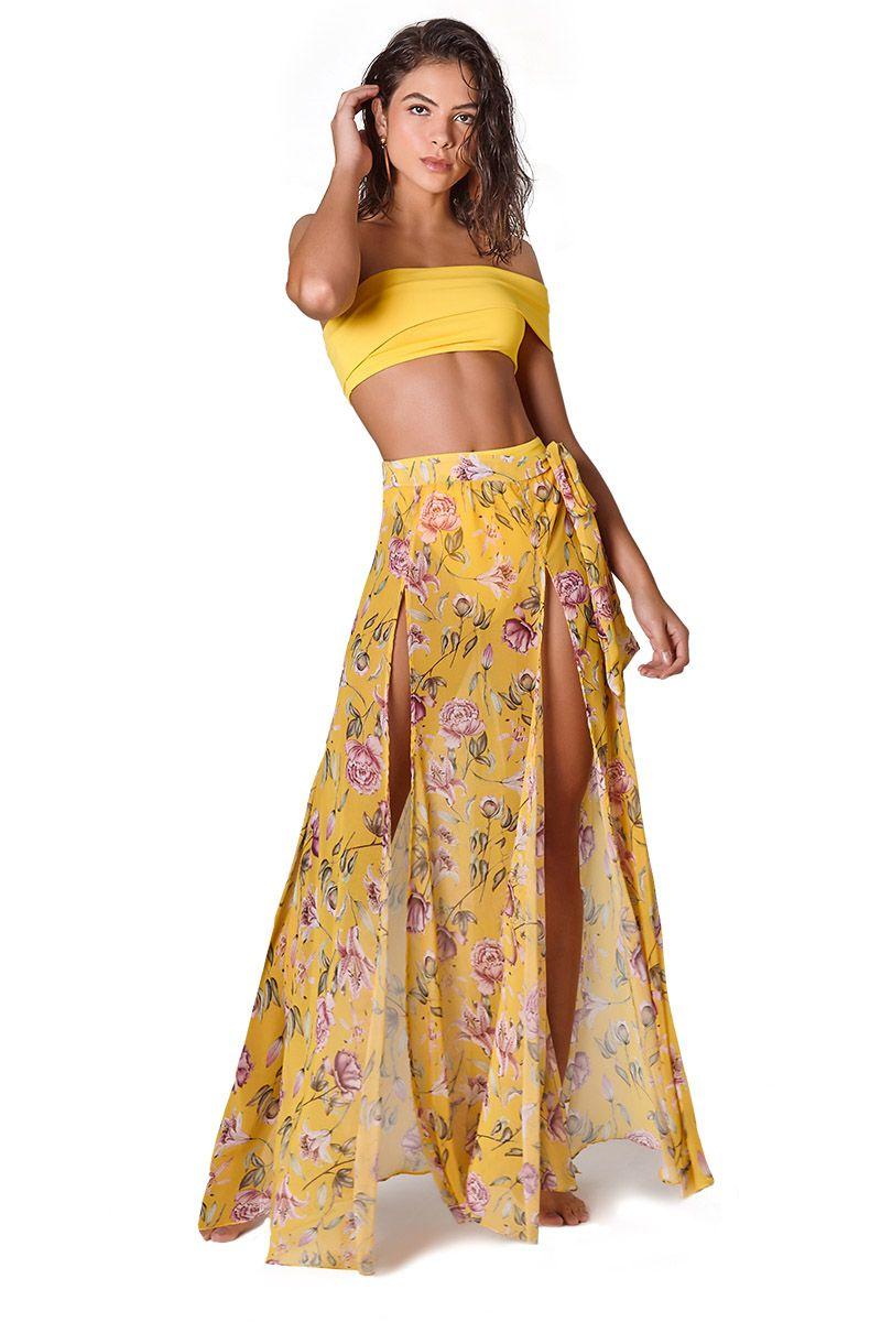 Saia Fendas Estampa Floral Amarelo