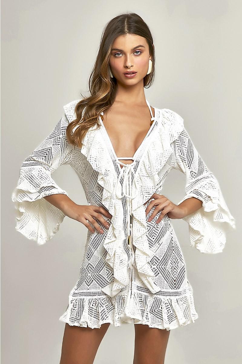 Vestido Isabel Renda Losango Off White