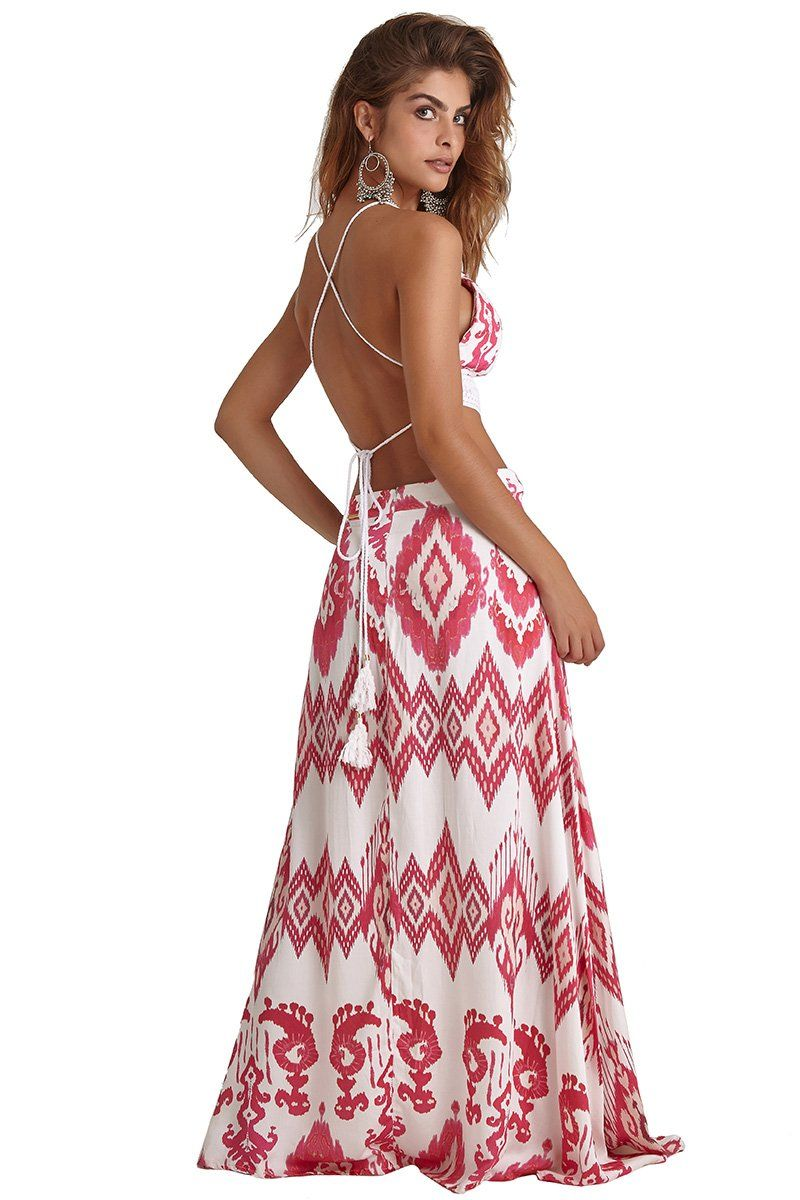 Vestido Majorelle Estampa Ikat Pink