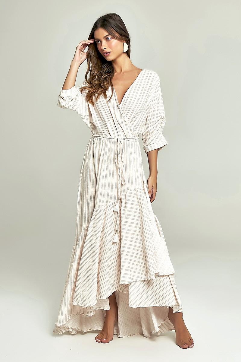 Vestido Wrap Estampa Listras Khaki