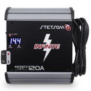 Fonte Automotiva Stetsom 120-a Infinite Bivolt Digital 12v Cooler Voltímetro Amperímetro Carregador Ajuste Tensão ABS